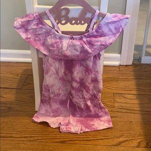 Purple Tie Dye Shorts Romper